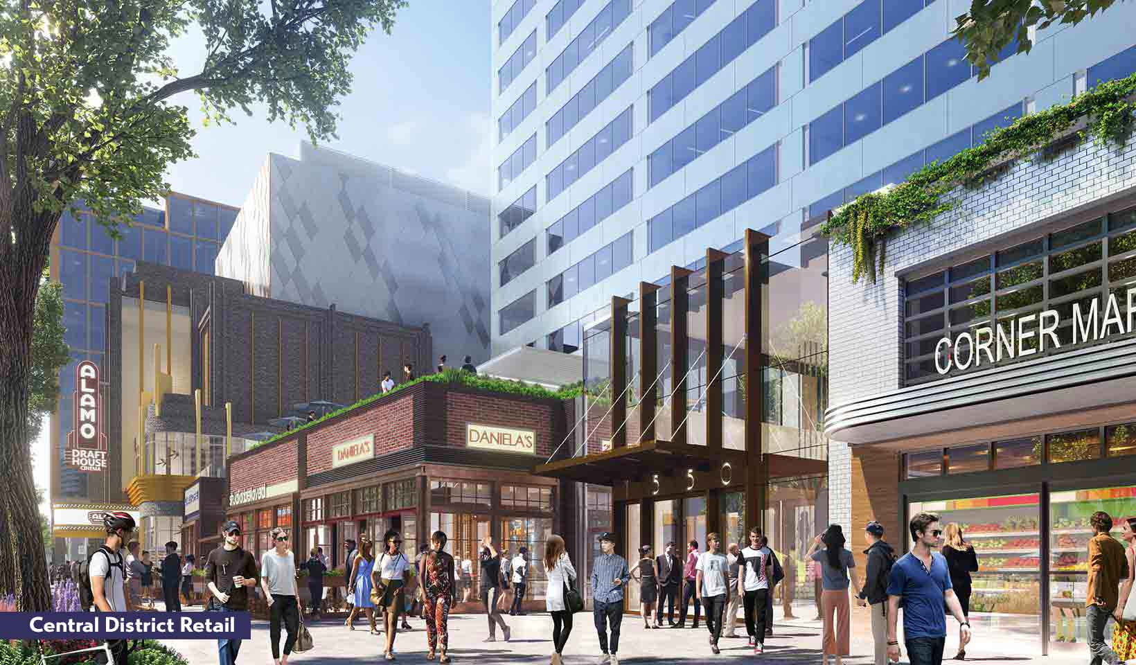 Rendering of people enjoying the Central District Retail space