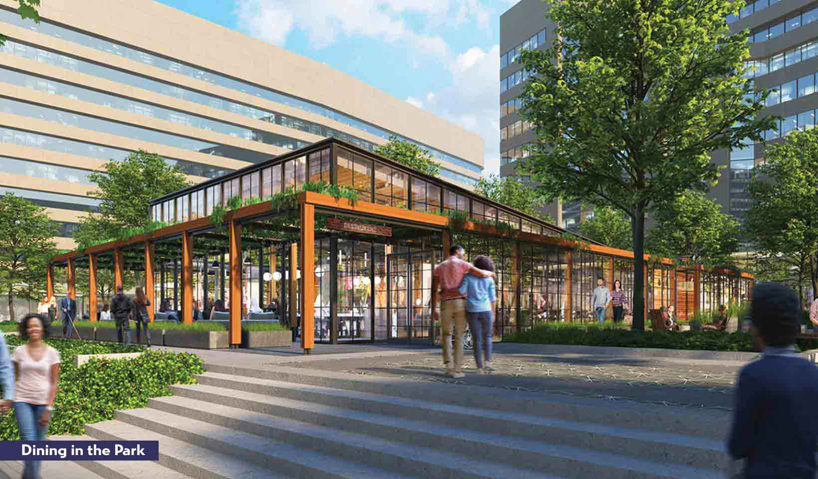 Rendering of people enjoying the Dining in the Park retail space