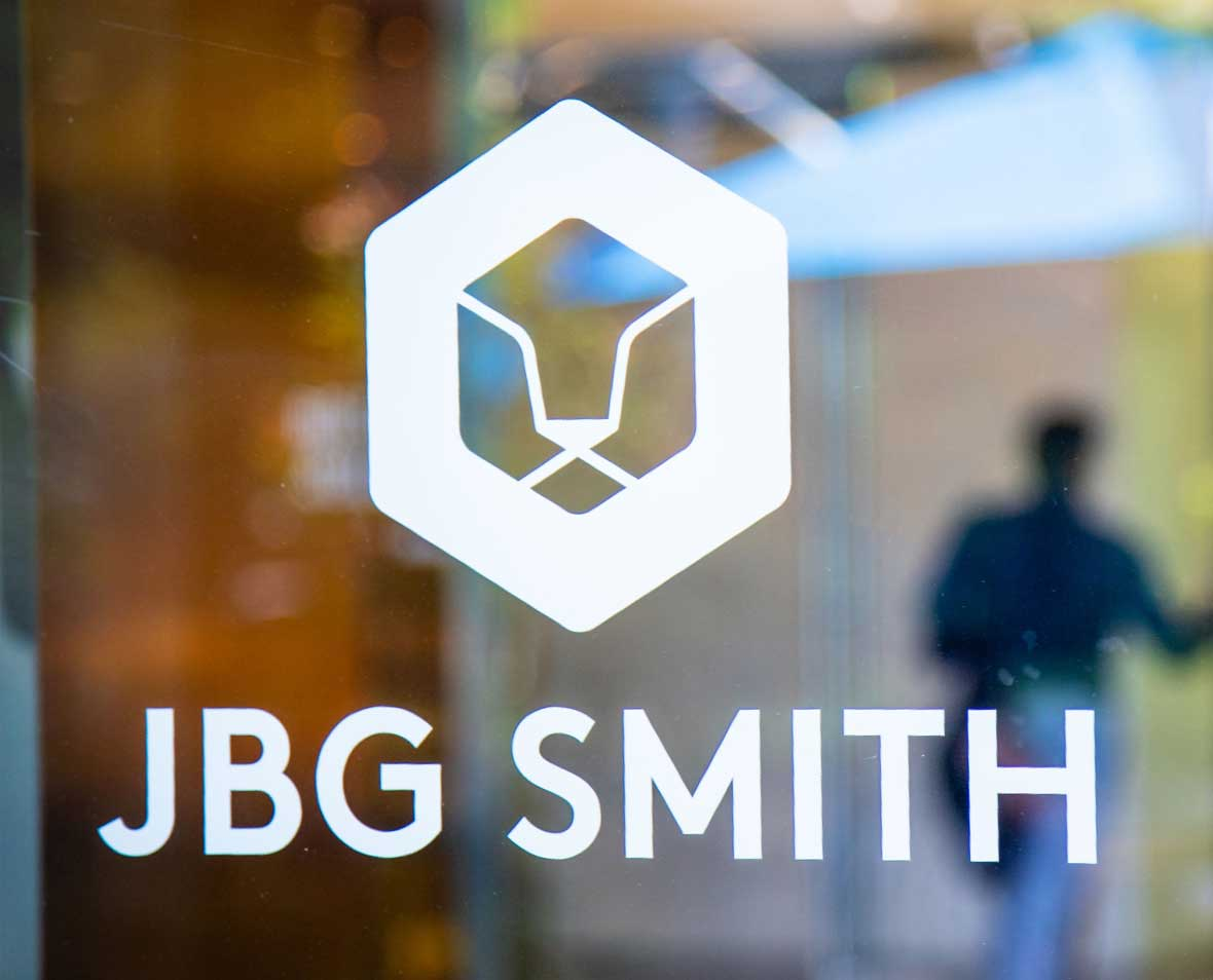 JBG SMITH logo artwork on a door