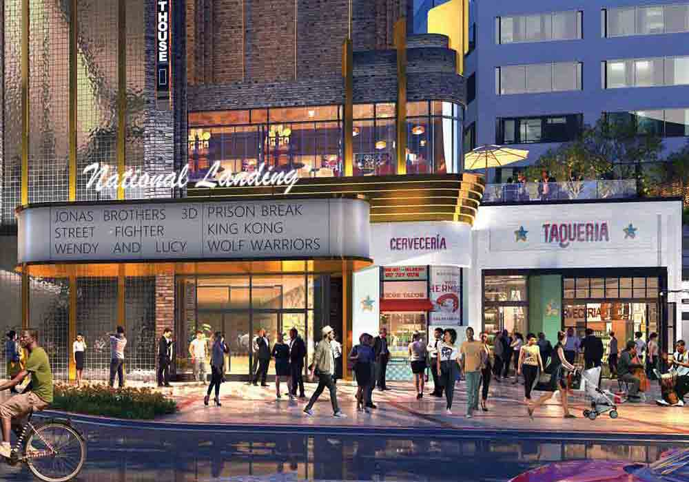 Rendering of retail spaces exterior in National Landing