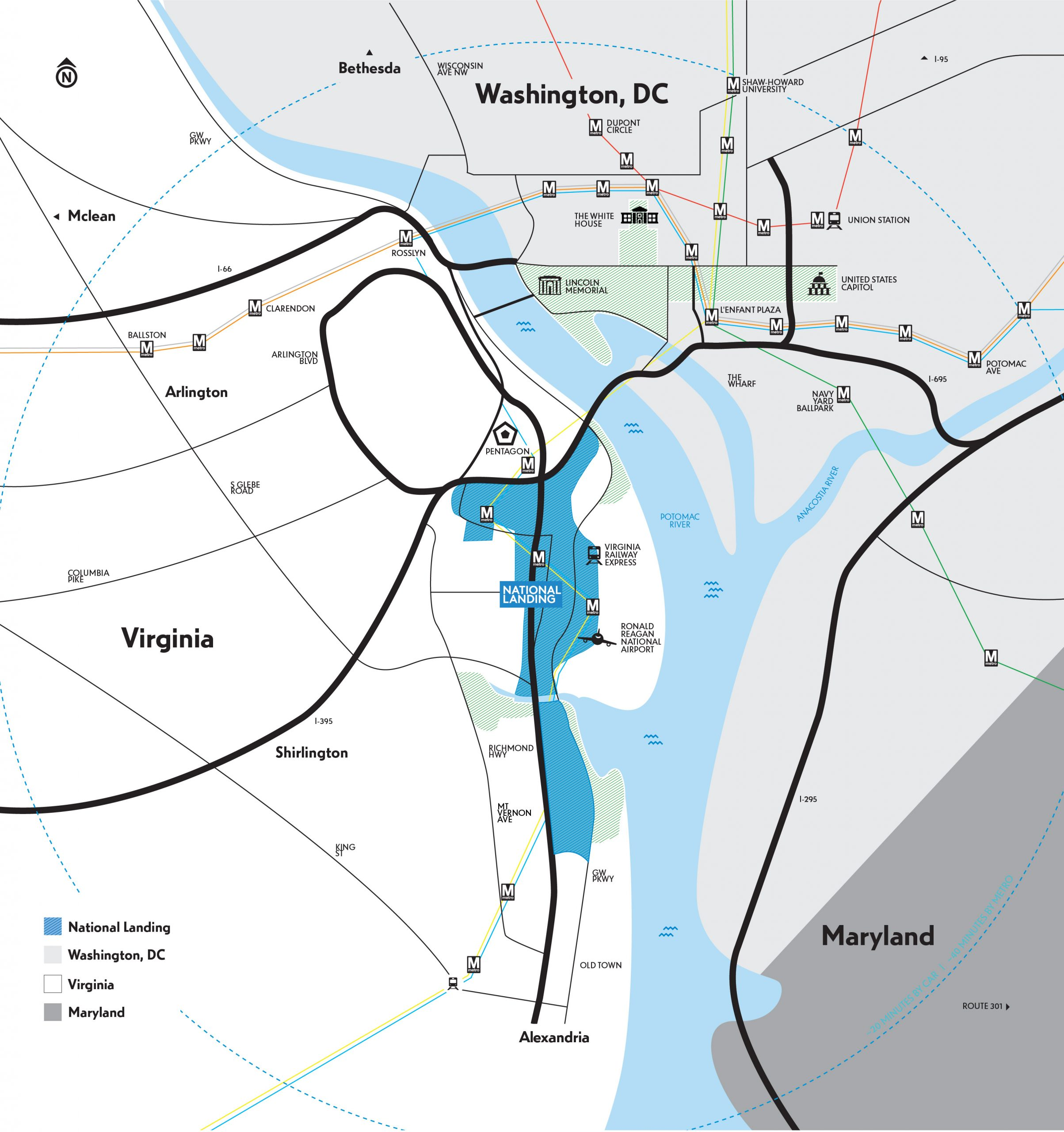 Map of National Landing in context of the greater Washington, DC area